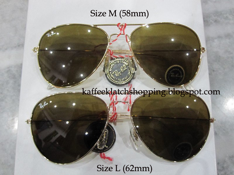 ray ban aviator 58mm size