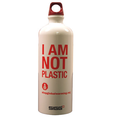 "Aluminum Sigg water bottle that says: ""I am not plastic"""