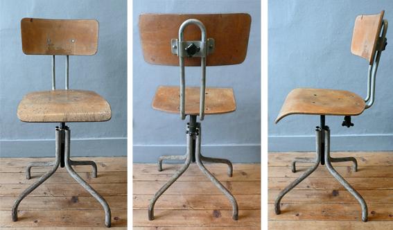 Les traficoteuses chaise d 39 atelier reglable metal et bois for Chaise bois et metal industriel