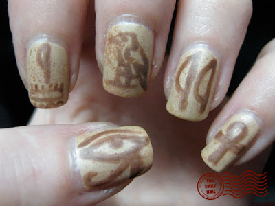 Today's nails were painted with actual Egyptian hieroglyphics!