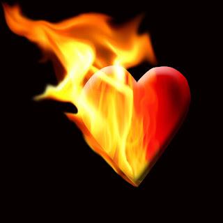 Frases amor - Coração em chamas