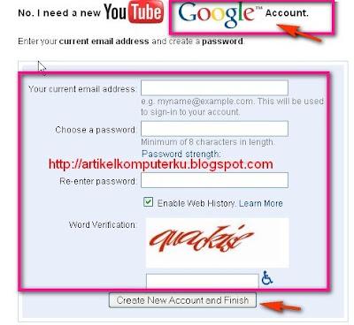 buat akun di youtube