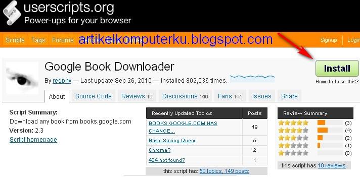 Google book downloader userscript