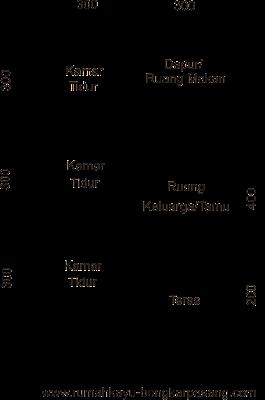 denah rumah kayu type 54
