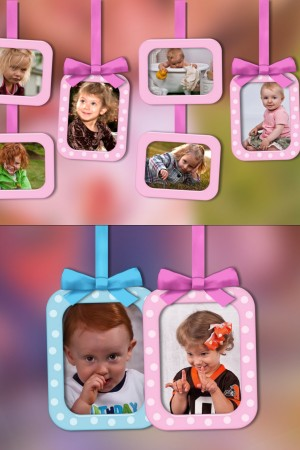Three montages with cute swinging frames, suitable for your baby or