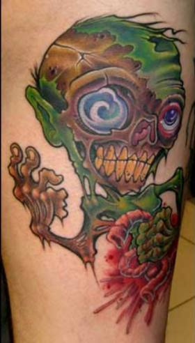 Other people prefer zombie tattoos that look more like a cartoon.