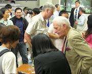 Ric O'Barry talks with Wakayama University students in Wakayama City, Japan, .