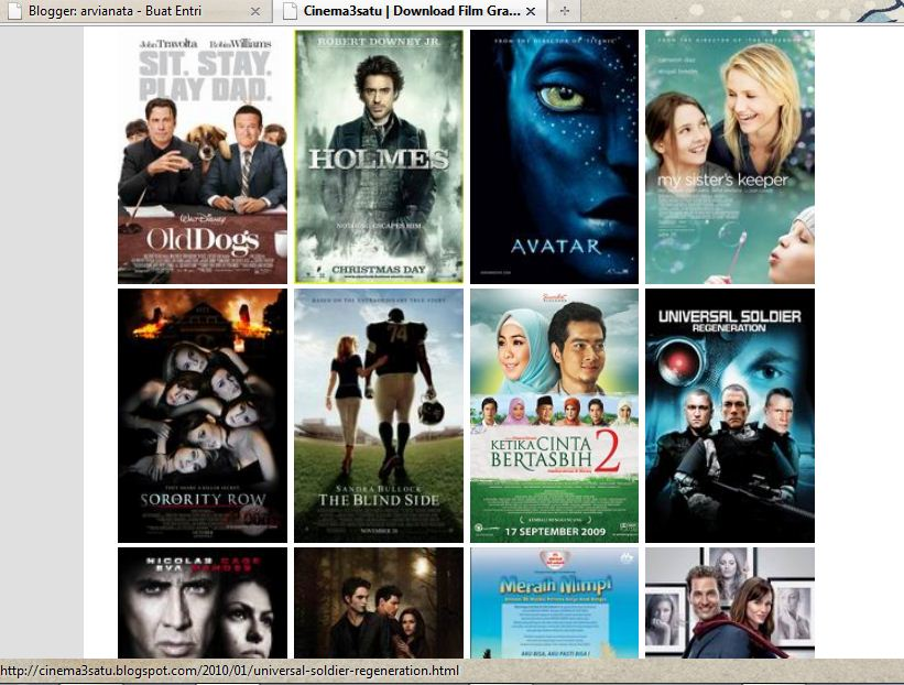 Review cinema3satu.blogspot.com, tempat download film gratis.
