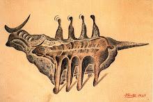 dos figuras animales-1927-tinta china y acuarela
