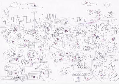 Desenho que fiz para minha namorada Juliana com alguns momentos nossos na cidade de São Paulo.