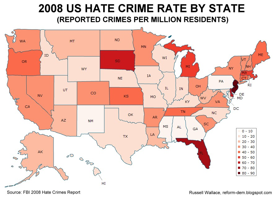 Reform Dem Map Hate Crime Rate By State - Us map of crime rates