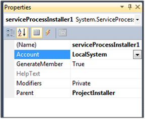Service Process Installer Properties