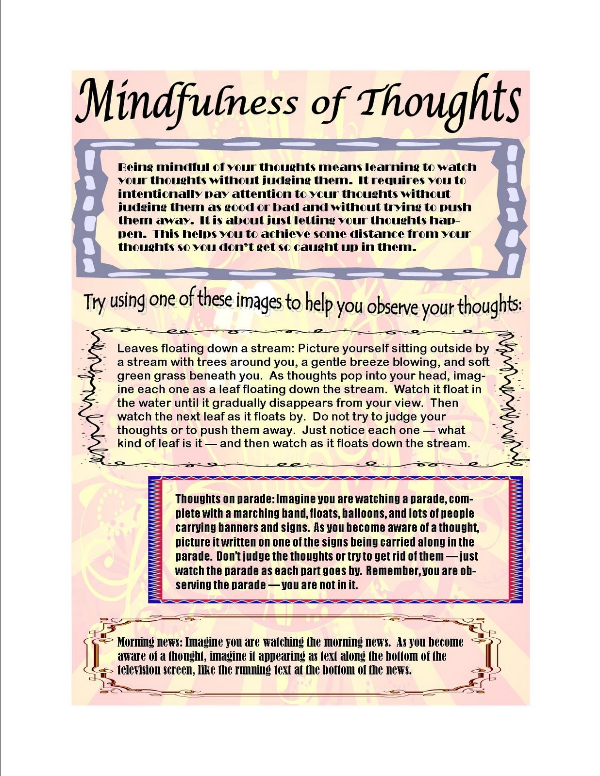 This Is Me: Another mindfulness handout - mindfulness of thoughts