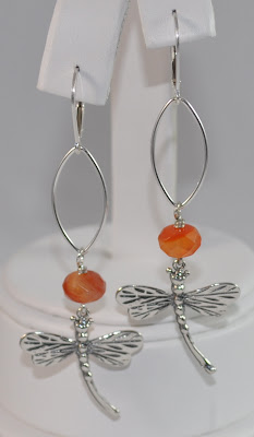 Sterling Silver Signature Dragonfly Earrings - Carnelian