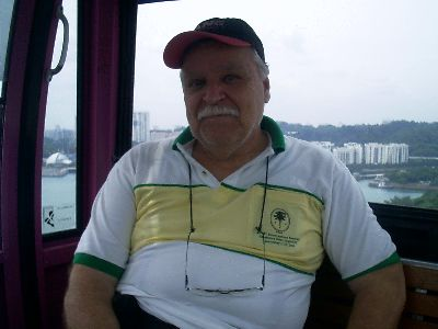 Riding the cable car over Sentosa Island Singapore Feb 2008