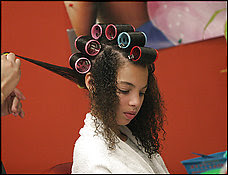 Roller Set in Hair Salon http://adventuresinbayarealand.blogspot.com/2010/11/ready-set-go.html