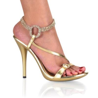 Gold Metallic 4 3/4'' Heel Rhinestone Sandals