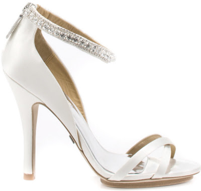 Sexy High Heel White satin upper with crisscross straps at the vamp