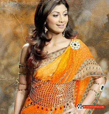 shilpa shetty in saree. Shilpa Shetty in Orange Saree