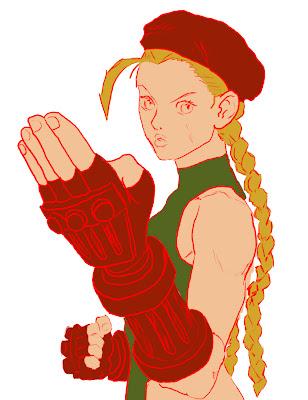 personagem Cammy de Street Fighter com cores medias. Pele rosada, maiô verde, cabelos louros, luvas e boina vermelhos