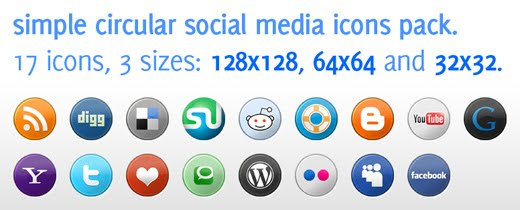 Simple Circular Social Media Icons