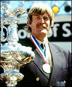 Sir Peter Blake with the America's Cup 1995