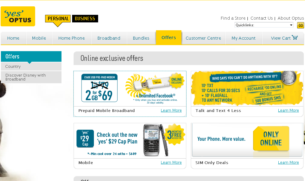 Optus Mobile Broadband : Online Exclusive Offers