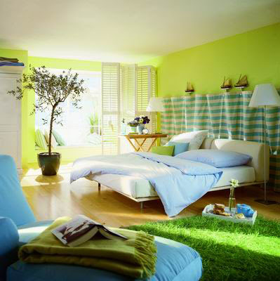 greeny decorated bedroom