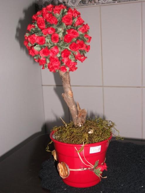 topiaria grande mini rosa vermelha