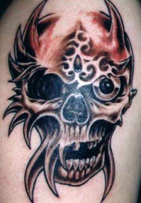 Black and White Flaming Dragon Skull Tattoo. Time to Completion: x