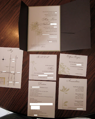 my DIY pocketfoldsbrown and green wedding diy invitation pocketfold pic