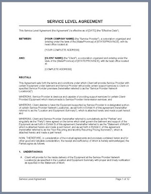 Your Service Level Agreement Template - A Sample SLA