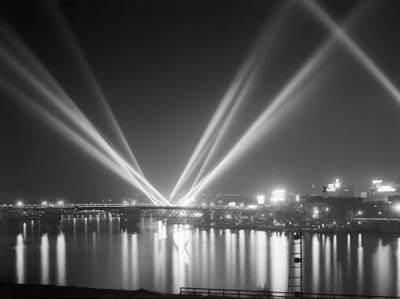 Searchlights, Portland Waterfront, Oregon 1936