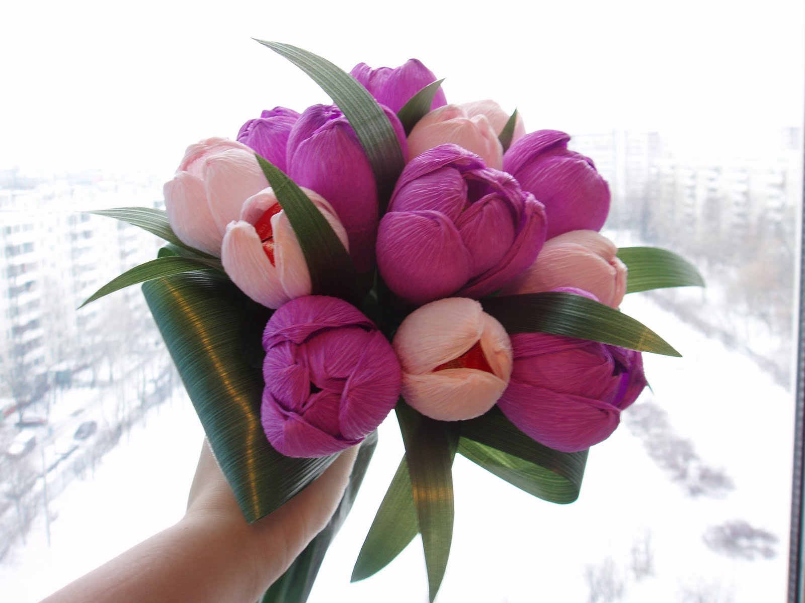 Букеты из тюльпанов своими руками фото