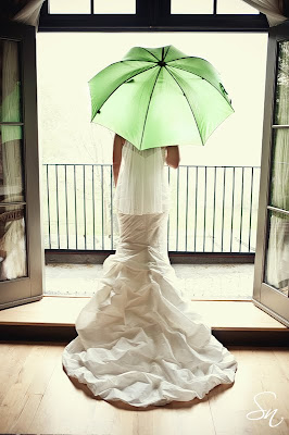 spring bride with umbrella
