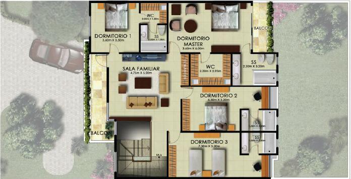 Diseno De Baño Familiar: tipica Cuatro habitaciones, sala familiar y baños independientes