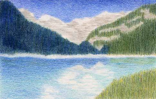 colored pencil drawing Lake Louise Canada