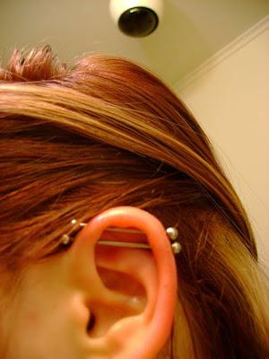 double piercing on ear ,industrial piercing