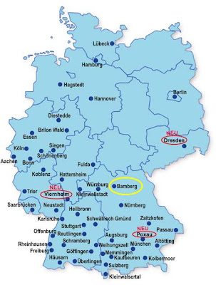 Below is a map showing all churches run by the SSPX in Germany (Bamberg is