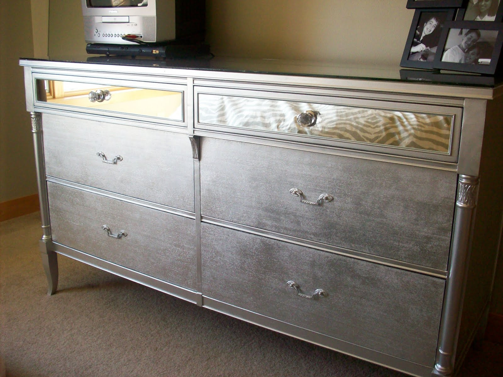 Painting Bedroom Furniture Before And After Glam In A Can Drab To Fab Dresser Before And After