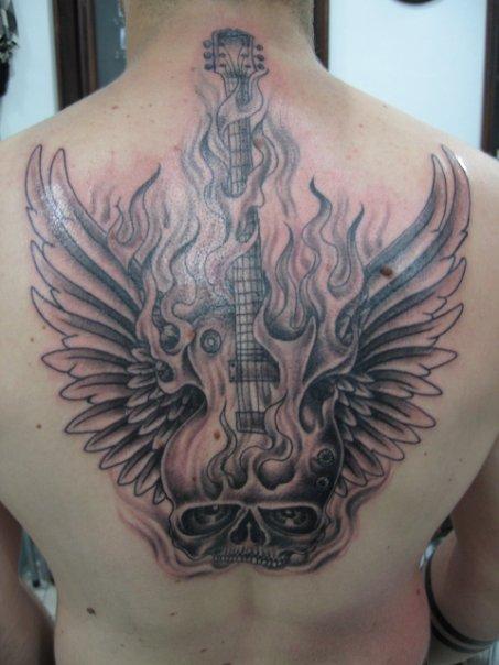Label: Fire Tattoo, guitar fire, guitar tattoo, skull tattoos, skull wings
