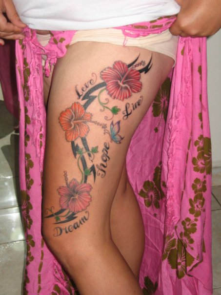 sexy hibiscus flower tattoo