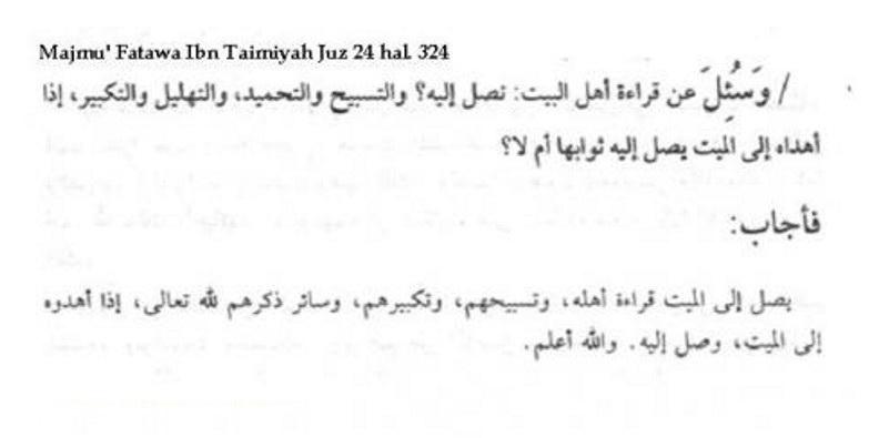 Ibnu Taymiyah Katakan sampainya pahala bacaan dzikir/al qur'an