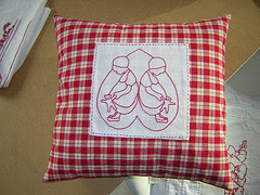 Lottie Dottie redwork pillow