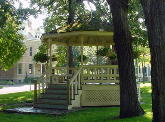 The central features are a beautiful fountain and this gazebo