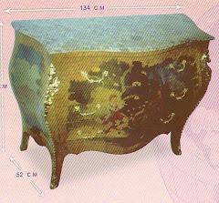 (20)بايوه ياباني3درج روميو و جوليت من الخشب الزان والسويد والقشره الطبيعيه وماتيكليه يدوي