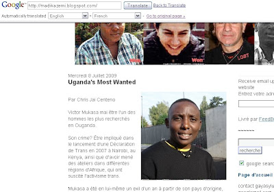 Screenshot of Google translate showing LGBT Asylum News in French