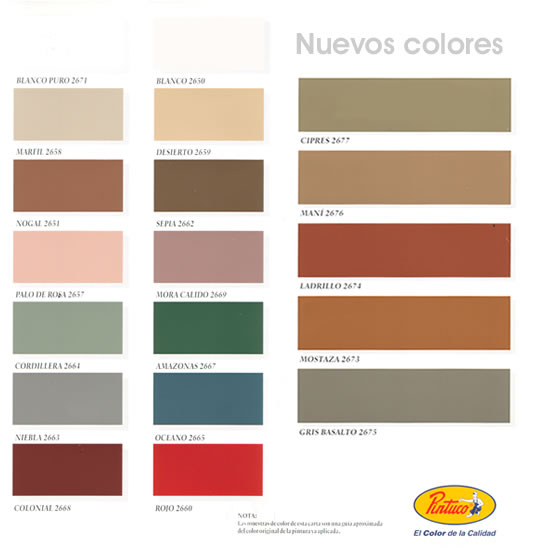 Pintuco carta de colores imagui for Paleta de colores de pintura para interiores