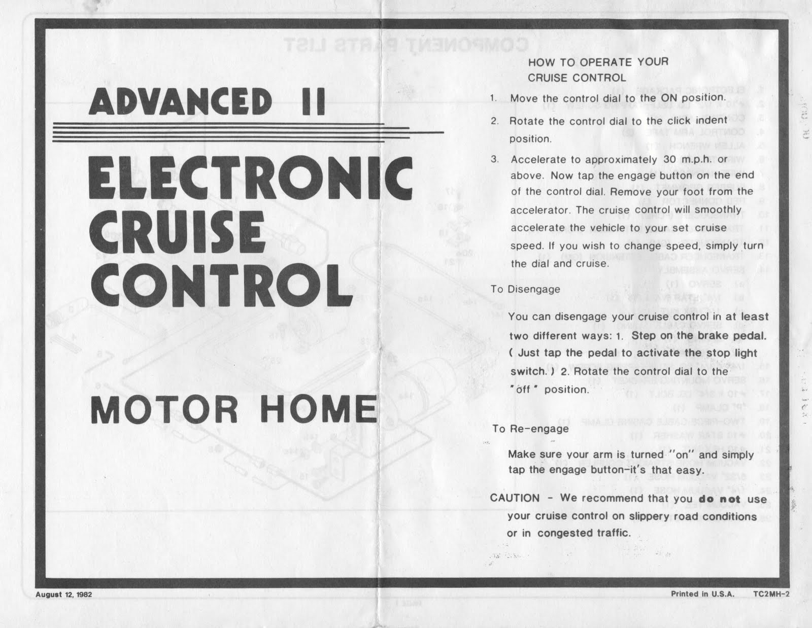 1983 Fleetwood Pace Arrow Owners Manuals 83 Electronic General Cruise Control Diagram Manual