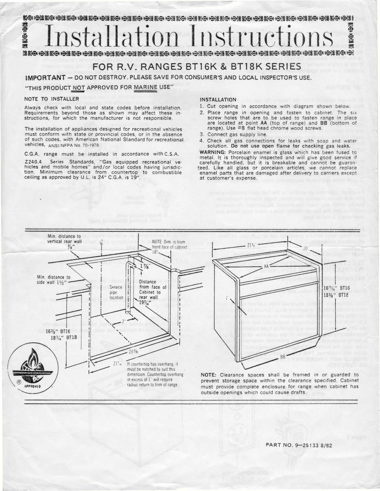 Shurflo Water Pump >> 1983 Fleetwood Pace Arrow Owners Manuals: Magic Chef RV stove manual